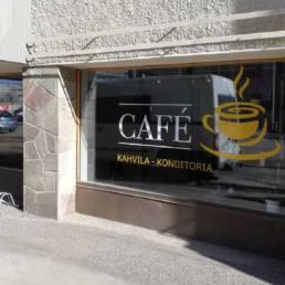 Cafe Kahvilan ikkkunateippaus